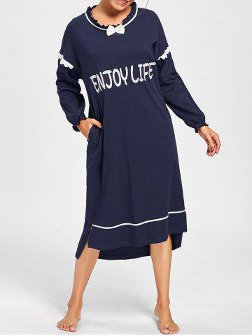 Affordable Long Sleeve Frill Trim Oversized Sleep Dress - 2XL MIDNIGHT Mobile