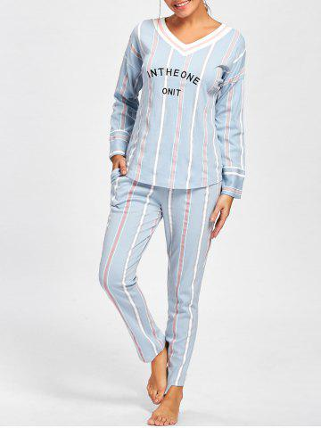 Chic V Neck Striped Sleepwear Set CLOUDY L