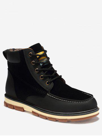 Cheap Ankle Color Block Moc Toe Boots - 46 BLACK Mobile