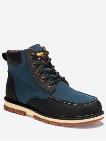 Hot Ankle Color Block Moc Toe Boots BLUE 46