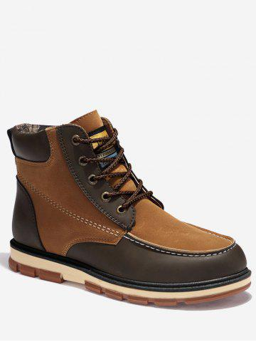 Affordable Ankle Color Block Moc Toe Boots BROWN 46