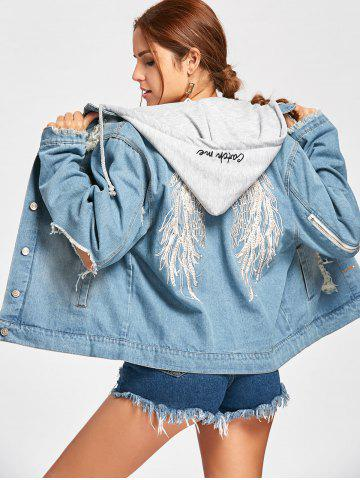 Affordable Wing Embroidery Distressed Denim Hooded Jacket DENIM BLUE L