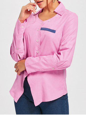 Affordable Turndown Collar Asymmetrical Shirt PINK M