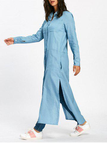Discount Side Slit Longline Maxi Shirt with Pockets LIGHT BLUE L