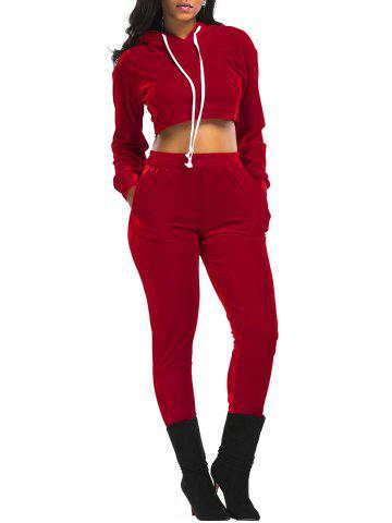 Best Velvet Cropped Drawsring Hoodie and Pants Suit - RED L Mobile