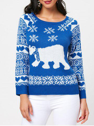 Chic Sea Bear Pattern Raglan Sleeve Pullover Sweater BLUE ONE SIZE