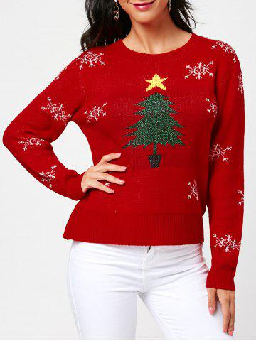 Outfits Christmas Tree and Snowflake Pattern Pullover Sweater - ONE SIZE RED Mobile