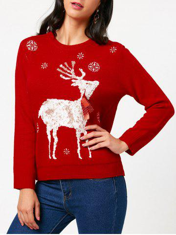 Trendy Elk Tied A Bow Tie Christmas Sweater - ONE SIZE RED Mobile