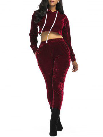 Discount Velvet Cropped Drawsring Hoodie and Pants Suit WINE RED XL