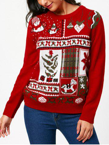 Affordable Christmas Ornamentation Pattern Pullover Sweater - ONE SIZE RED Mobile