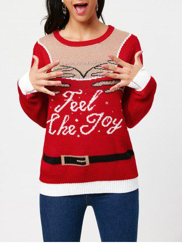 Outfits Feel The Joy Pullover Sweater RED ONE SIZE