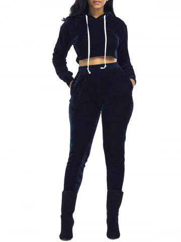 New Velvet Cropped Drawsring Hoodie and Pants Suit