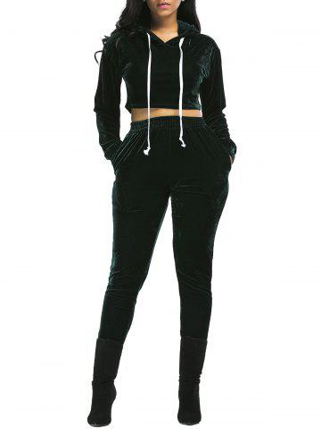 Unique Velvet Cropped Drawsring Hoodie and Pants Suit