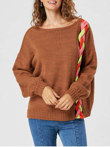 Outfit Cable Knit Drop Shoulder Sweater LIGHT BROWN M