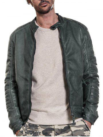 Store Raglan Sleeve Mandarin Collar Faux Leather Jacket - L GREEN Mobile