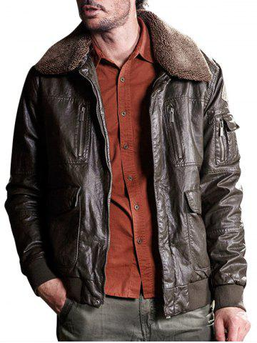 Fashion Multi Pockets Borg Collar Faux Leather Jacket - M DEEP BROWN Mobile