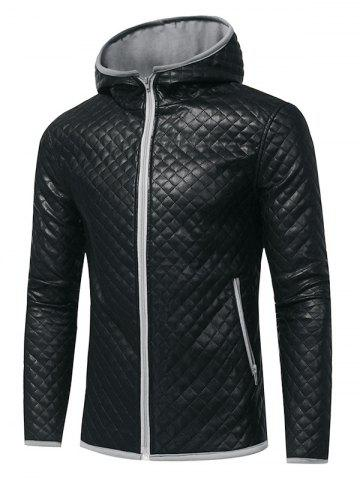 New Rhombus Embossing Color Block PU Leather Jacket - 2XL GRAY Mobile