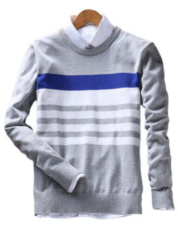Buy Stripes Crew Neck Sweater - 3XL GRAY Mobile