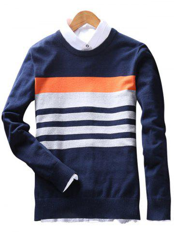 Outfits Stripes Crew Neck Sweater ROYAL 3XL