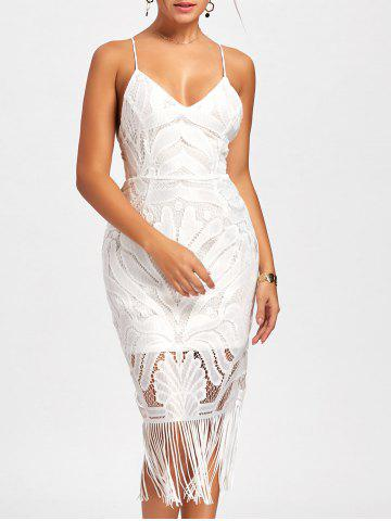 Best Backless Fringe Lace Cami Club Dress - L WHITE Mobile