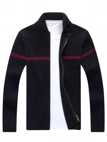 Outfits Single Stripe Ribbed Zip Up Cardigan - L BLACK Mobile