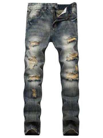 Faded Wash Slim Fit Ripped Jeans Bleu 40