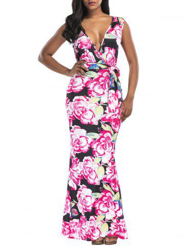 Sale Floral Print Belted Surplice Maxi Dress - S FLORAL Mobile
