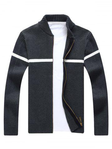 Best Single Stripe Ribbed Zip Up Cardigan - 3XL GRAY Mobile