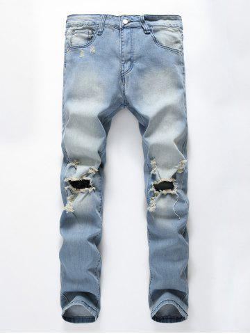 Fashion Faded Wash Heavy Distressed Skinny Jeans BLUE 32