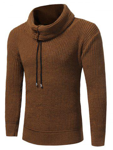 Discount Cowl Neck Drawstring Pullover Sweater - L CAMEL Mobile