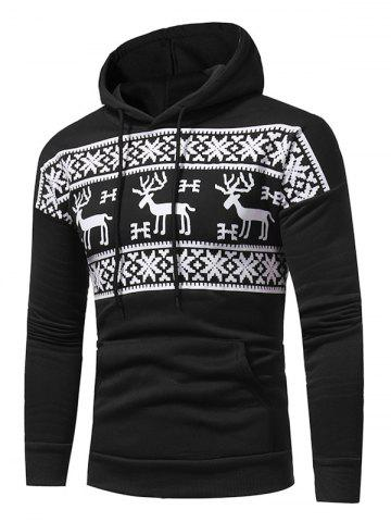 Chic Snow and Reindeer Print Fleece Pullover Hoodie - 3XL BLACK Mobile
