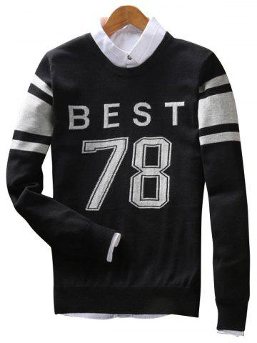 Outfits Best 78 Pattern Crew Neck Sweater BLACK 3XL