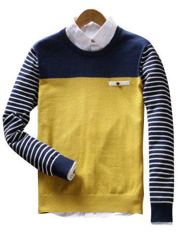 Fashion Faux Pocket Stripe Color Block Sweater