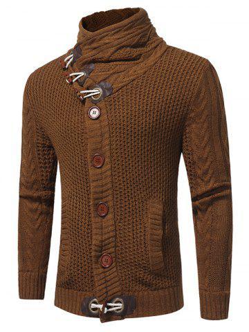Fashion Horn Button Cowl Neck Single Breasted Cardigan - 2XL CAMEL Mobile