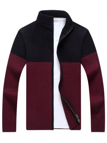 Chic Ribbed Color Block Cardigan WINE RED L