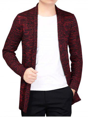Unique Knitted Open Front Cardigan - 2XL RED Mobile