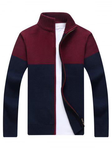 Store Ribbed Color Block Cardigan - XL BLUE Mobile