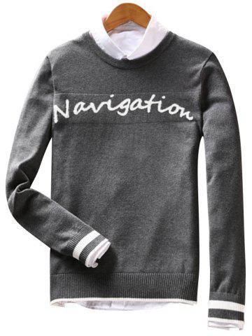 Affordable Crew Neck Navigation Graphic Varsity Stripe Sweater GRAY XL