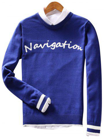 Outfits Crew Neck Navigation Graphic Varsity Stripe Sweater BLUE 2XL