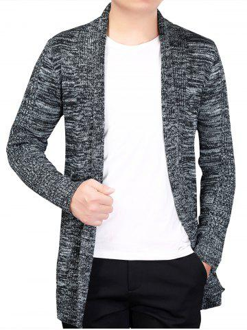 Knitted Open Front Cardigan - GRAY - L