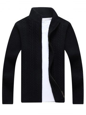Cheap Full Zip Cable Knit Cardigan - 3XL BLACK Mobile