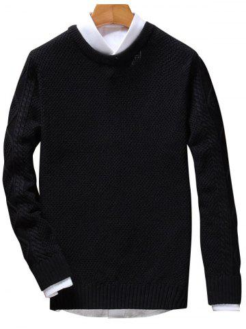 Discount Crew Neck Cable Knit Jumper - BLACK 2XL Mobile