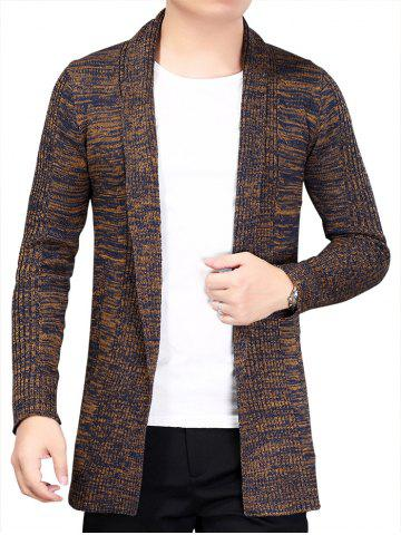 Chic Knitted Open Front Cardigan - 3XL COFFEE Mobile