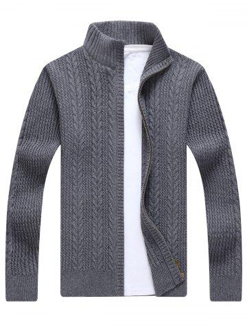Affordable Full Zip Cable Knit Cardigan GRAY 3XL