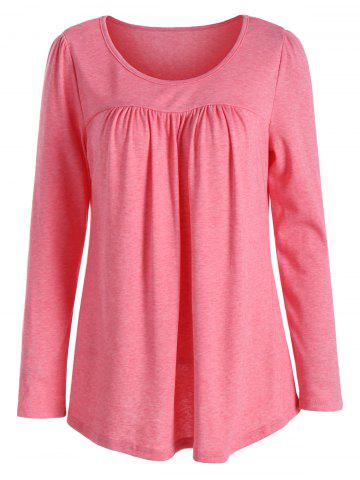 Cheap Casual Long Sleeve Pleated Top