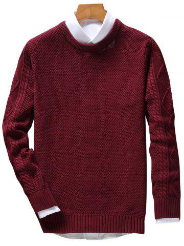 Sale Crew Neck Cable Knit Jumper - WINE RED XL Mobile