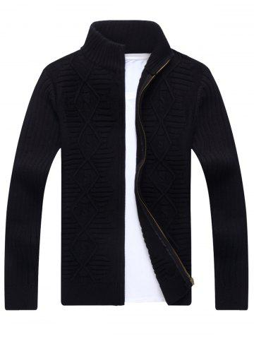 Trendy Zip Up Cable Knit Cardigan BLACK L