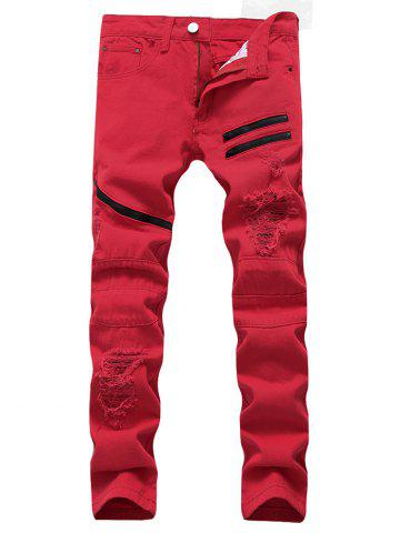 Fancy Zip Embellished Ripped Jeans RED 32