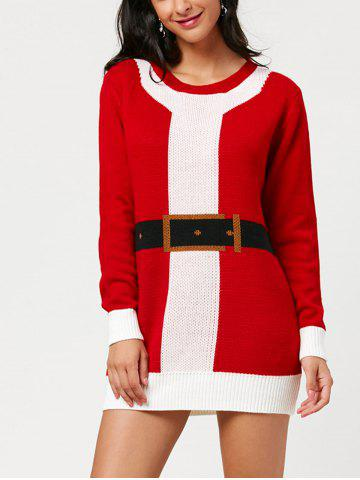 Chic Belted Pattern Christmas Mini Sweater Dress