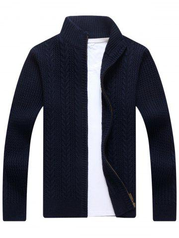 Fancy Full Zip Cable Knit Cardigan - XL BLUE Mobile
